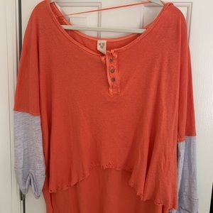 Free People Coral and Gray Henley Top